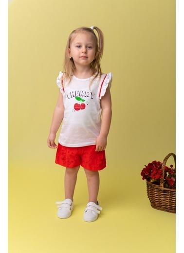 Mininio Beyaz Cherry Biyeli T-Shirt (9ay-4yaş) Beyaz Cherry Biyeli T-Shirt (9ay-4yaş) Beyaz